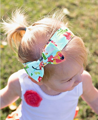 Painted Flowers Bow Headband