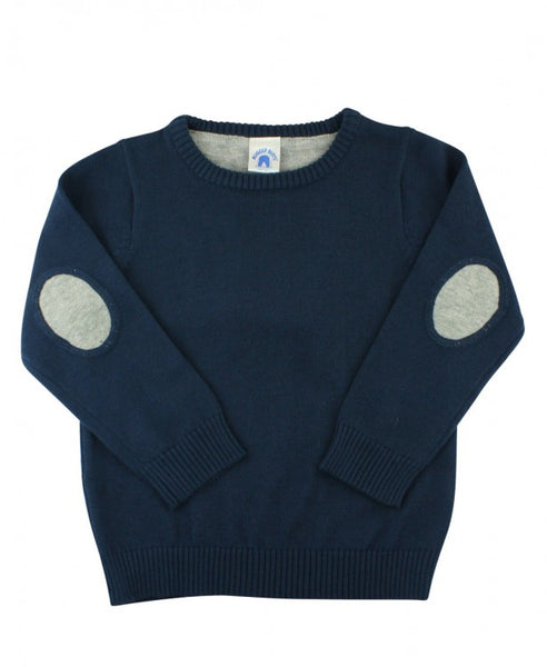 Navy Sweater with Elbow Patches