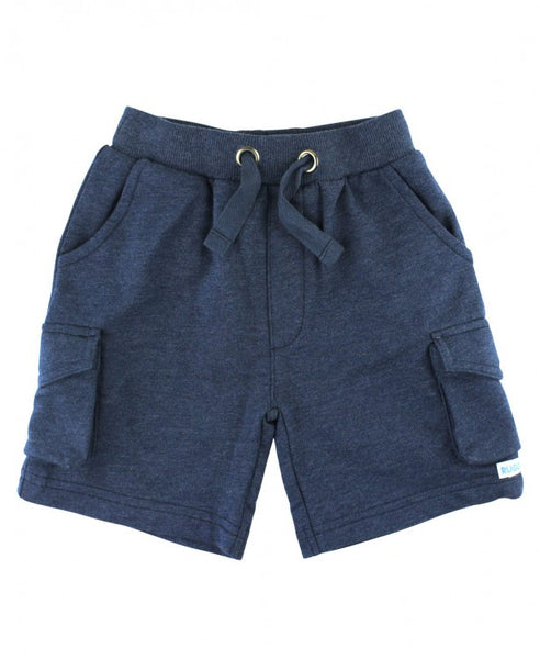 Navy Knit Cargo Shorts