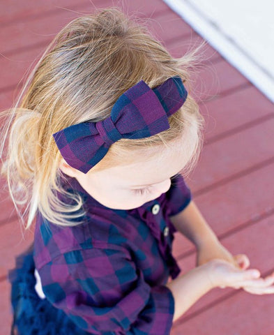 Plum & Navy Buffalo Plaid Headband