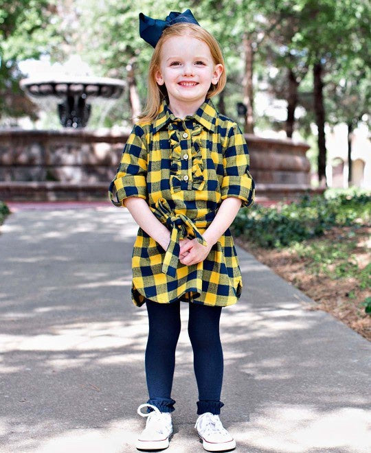 Navy & Mustard Buffalo Plaid Shirt Dress
