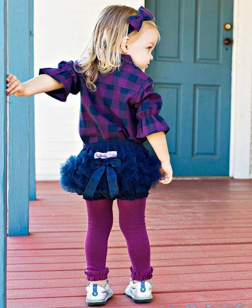 Plum Footless Ruffle Tights
