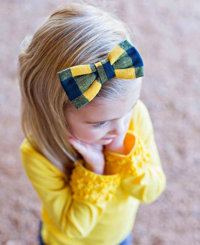 Navy & Mustard Buffalo Plaid Headband