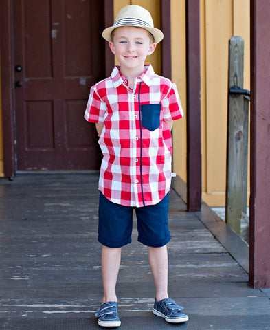 Red Plaid Short Sleeve Button Down