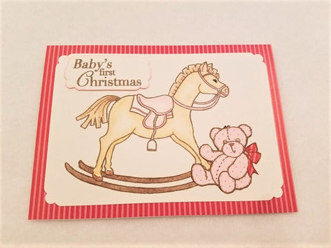 Baby's First Christmas Card - Pink & Red