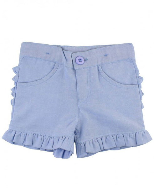 Blue Chambray Ruffle Shorts