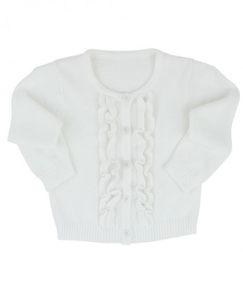 White Ruffled Cardigan
