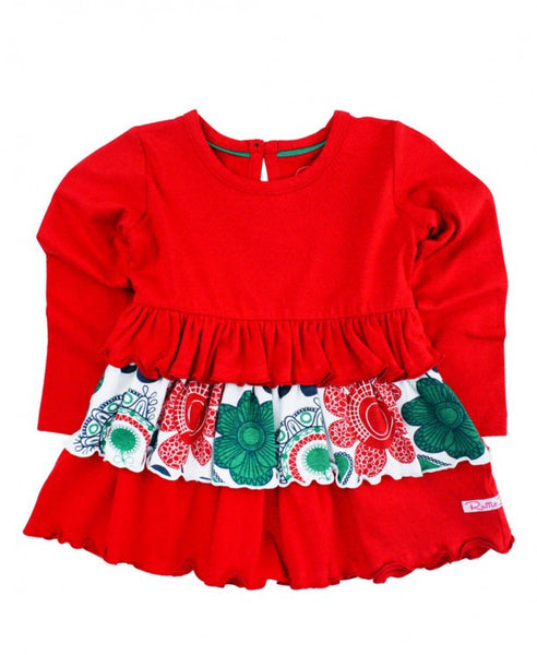 Red Festive Paisley Ruffle Top