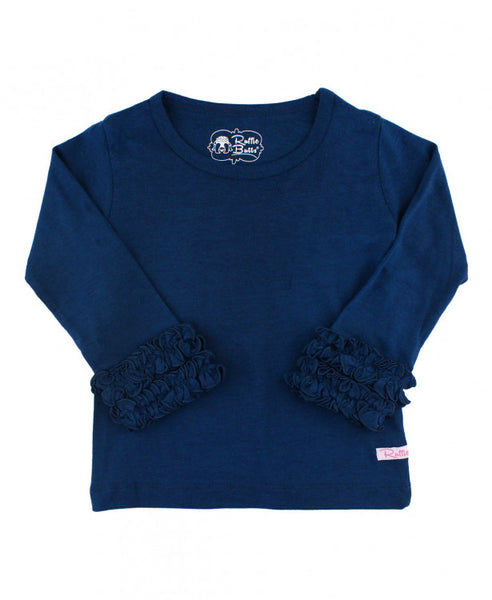 Navy Ruffled Long Sleeve Layering Tee