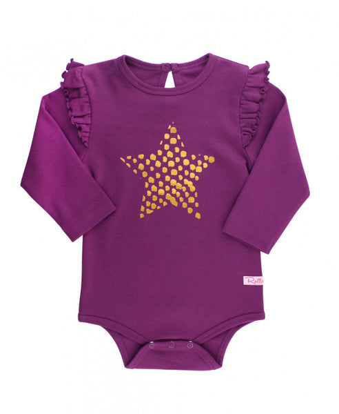 Plum Star Flutter Sleeve Bodysuit