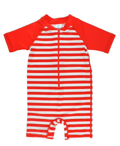 Red Stripe One Piece Rash Guard