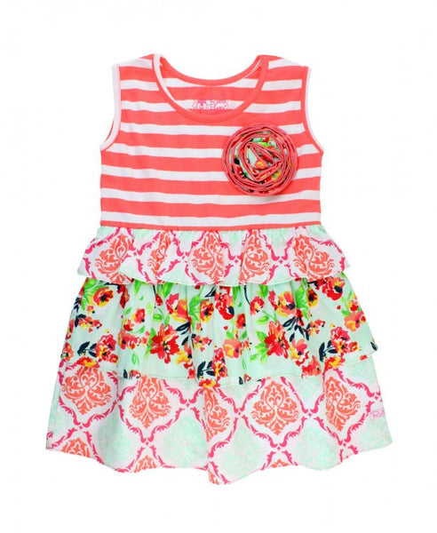 Painted Flowers Coral Stripe Mix-Print Dress