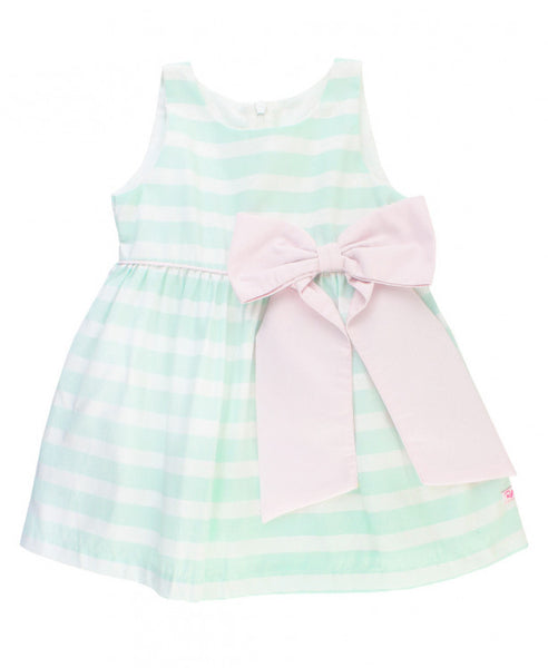 Aqua Stripe Sateen Bow Dress