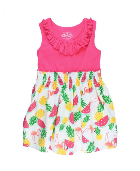 Pineapple Picnic Ruffle Dress