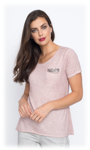 SEQUINED POCKET T-SHIRT