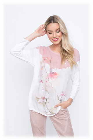 LONG SLEEVES FLOWER PRINT TOP W/ WHITE STUDS