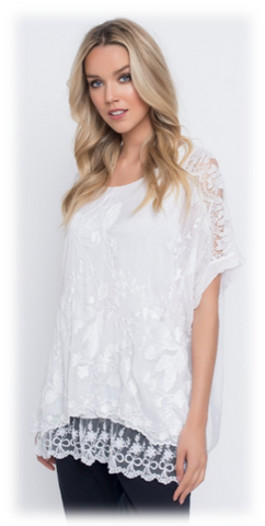 EMBROIDERED BLOUSE W/ BOTTOM LACE