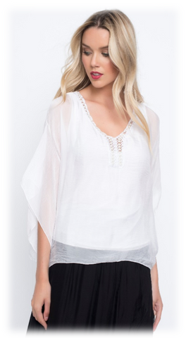 SILK BLOUSE W/ PEARLS AT NECK LINE