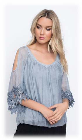COLD SHOULDER SILK BLOUSE W/ FLOWER LACE