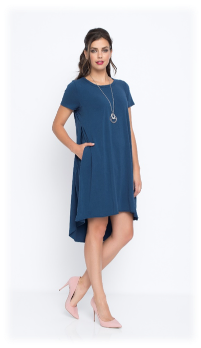 SHORT SLEEVES JERSEY DRESS W/ NECKLACE & POCKET