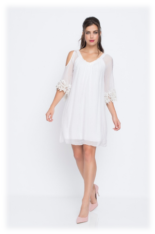 COLD SHOULDER DRESS W/FLOWER LACE