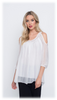 LONG SLEEVES COLD SHOULDER BLOUSE W/ LACE AT NECK LINE