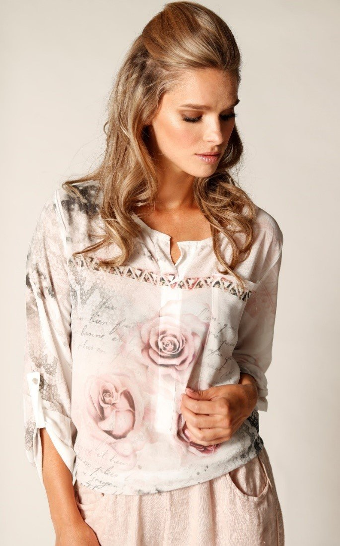 Long Sleeve Rose Blouse With Camisole