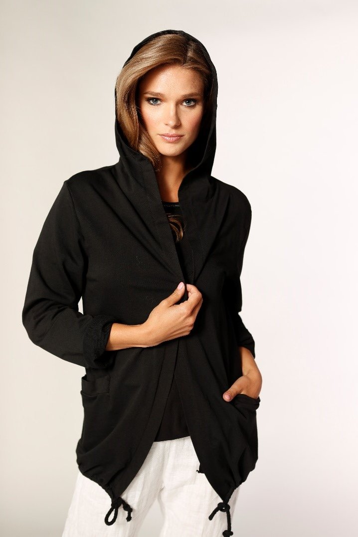 Hoody With Button Tye String