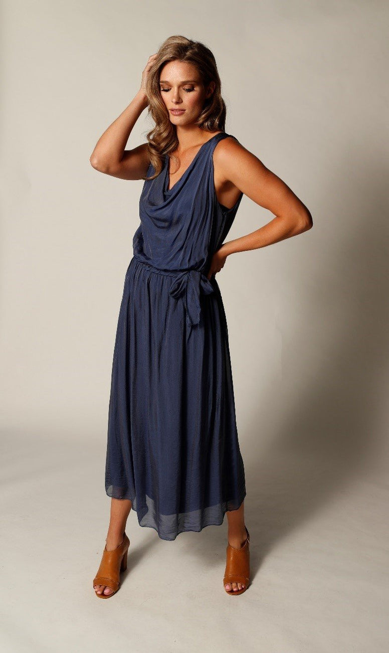 Sleeveless Long Silk Dress