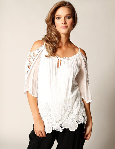 Cold Shoulder Embroidered Silk Blouse