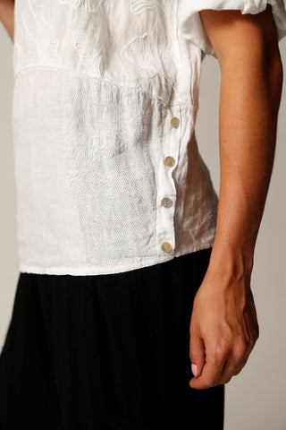 Embroidered Linen Top With Side Buttons