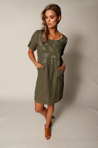 Embroidered Linen Dress With 2 Pockets