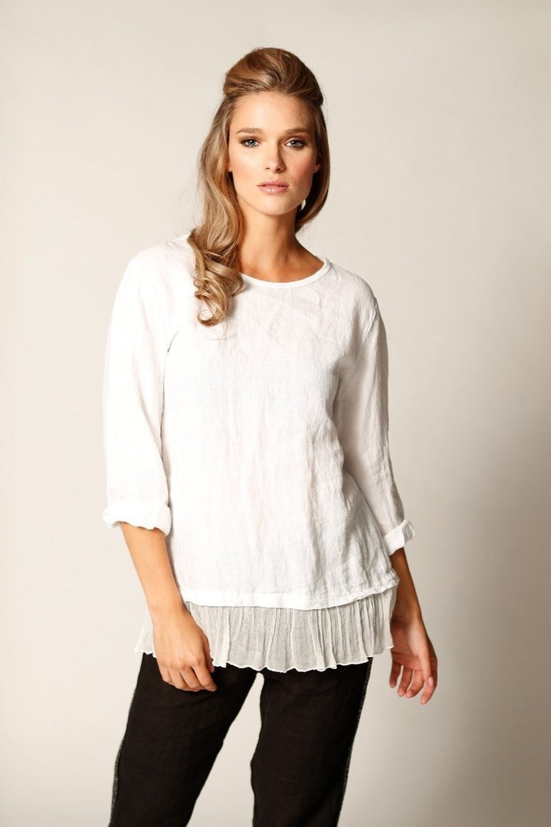 Linen Top With Botton Silk Frilled