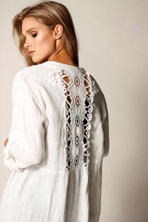 Long Linen Tunic With Back Lace