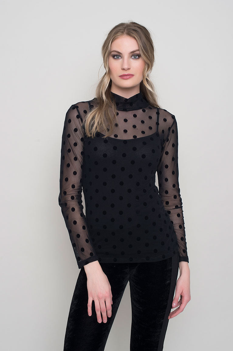 Velvet Polka Dot Mesh Top