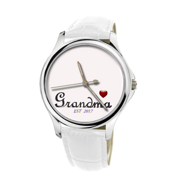 30 Meters Waterproof Quartz Fashion Watch With White Genuine Leather custom product