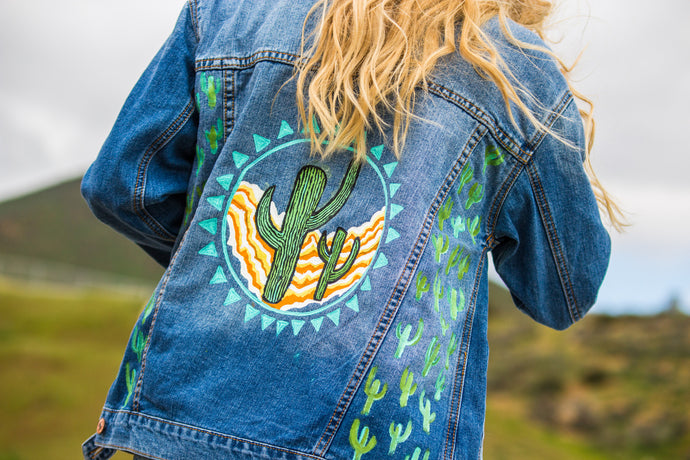 Cactus Love - Hand Painted Denim Jacket