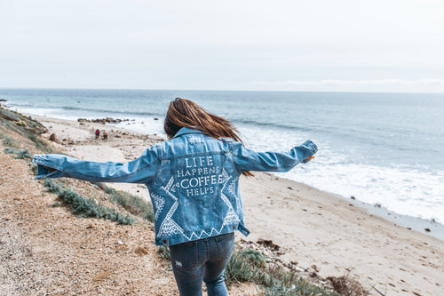 COFFEE FIRST - Hand Painted Denim Jacket