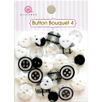 Button Bouquet IV Black/White