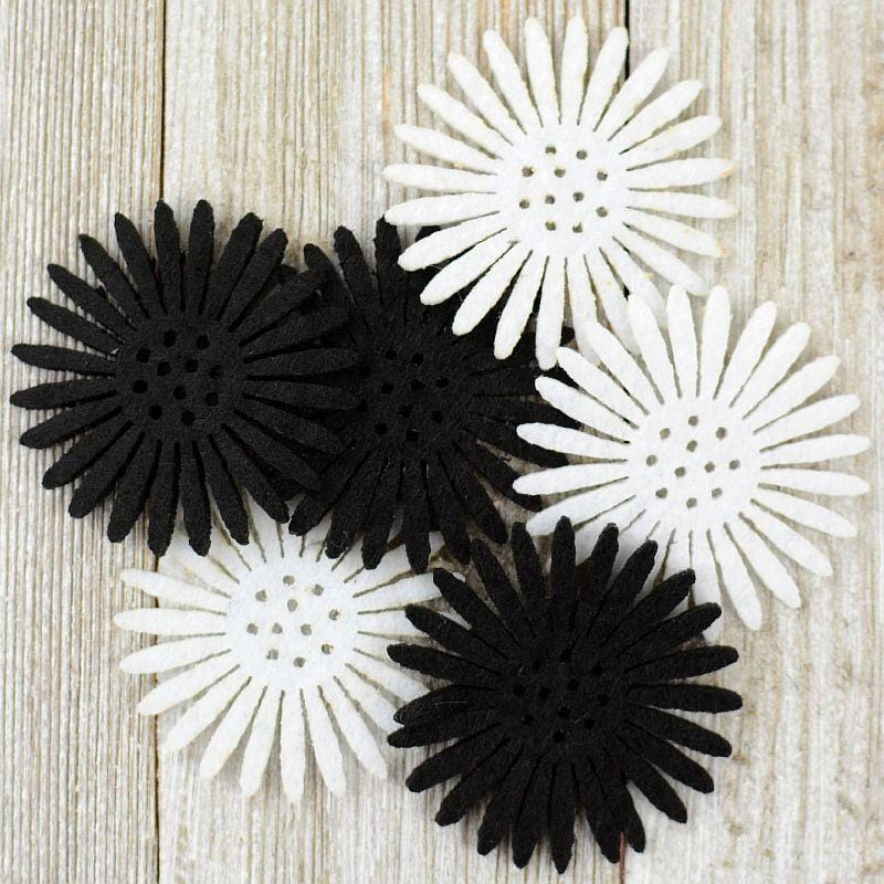 Daisy Flowers Black / White