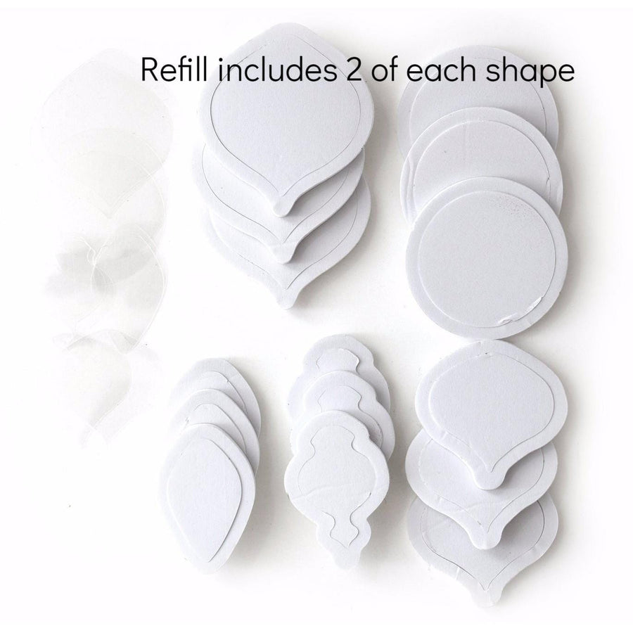 Refill includes 12 pieces total, 2 of each shape.