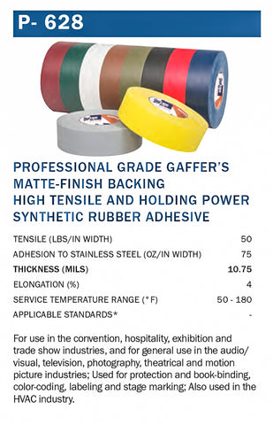 P-628 Gaffer Tape Sold by Tapemonster