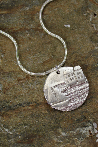 'The Harbour Collection' Round Pendant in Fine Silver