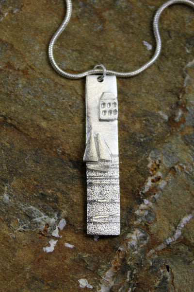 'The Harbour Collection' Tall, One House, Pendant in Fine Silver