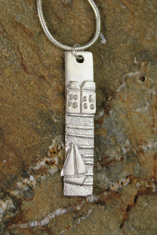 'The Harbour Collection' Tall, Two Houses, Pendant in Fine Silver