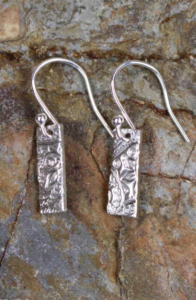 'Paisley Collection' Block Earrings in Fine Silver