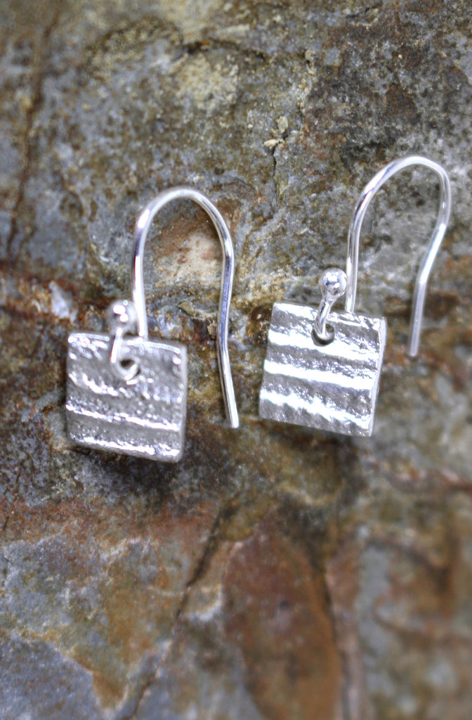 Softer Stripe Square Earrings in Fine Silver