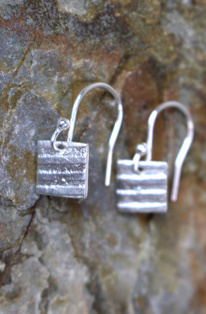 Modern Stripe Square Earrings in Fine Silver
