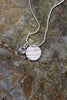 'Moonlight Collection' Disc Pendant in Fine Silver with Rose Quartz Stone