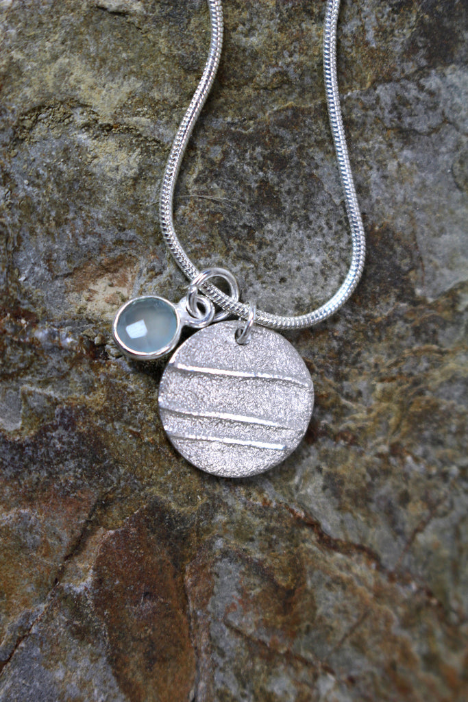 'Moonlight Collection' Disc Pendant in Fine Silver with Sea Green Chalcedony Stone